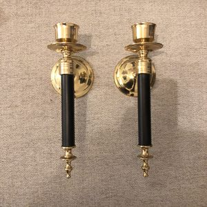 Brass and black mid Century Candelabras - vintage modern decor for Sale in Virginia Beach, VA