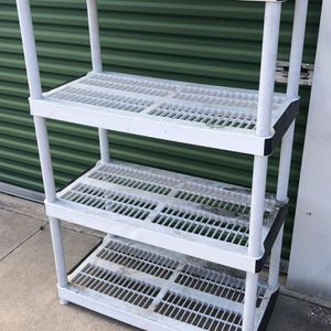4 tier heavy duty plastic shelf for Sale in Spring, TX