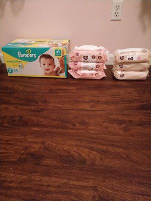 Pampers size 2 & total of 456 wipes for Sale in Spring, TX