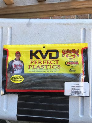 KVD perfect plastics with coffee scent and salt strike king green pumpkin fishing bait lure for Sale in Greensboro, NC