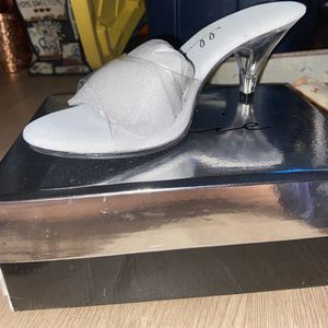 Brand New 305-Vanity Ellie Shoes, 3 Inch Stiletto Heels Clear Mule Shoes Size:12 Women for Sale in Alexandria, VA