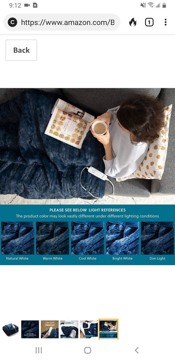 Gray color, Bedsure Heated Blanket Throw Electric - with 6 Heat Setting, Fast - Heating Blanket 1/2/3/4 H Timer, Auto - Off, 50 x 60 inch