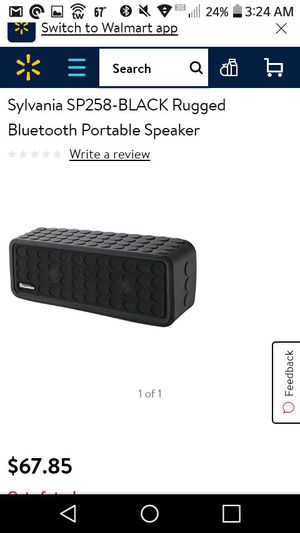 Sylvania Sp258-black Bluetooth Mini Speaker With Silicone Protective Cover for Sale in Madison Heights, VA