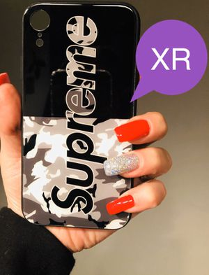 Brand new cool iphone XR case cover rubber tempered glass back Supreme army camo black & white case mens guys hypebeast hype swag for Sale in San Bernardino, CA