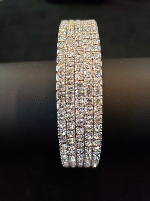 $15! Vintage rhinestone bangle braceket. 5 rows of rhinestones. None missing. 9.5 inches. 5/8 inch wide. for Sale in Indian Shores, FL
