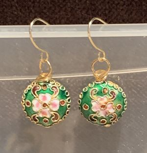 Pair of Handmade Cloisonne Earrings—Pink Flowers on Green Background for Sale in Vienna, VA