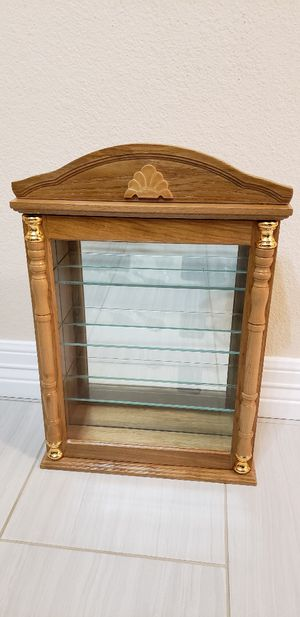 Oak curio cabinet with 3 shelf for sale for Sale in Cedar Park, TX