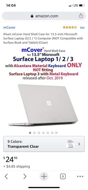 iPearl mCover Hard Shell Case for 13.5-inch Microsoft Surface Laptop (3/2/1) Computer alcantara keyboard for Sale in Bellevue, WA