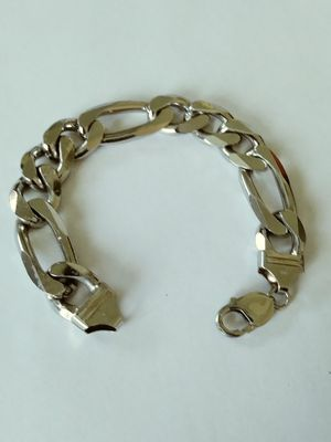 **HUGE &HEAVY** New Solid 925 Sterling Silver Figaro Bracelet 62 grams 8 inch long and 14mm wide $275 OR BEST OFFER for Sale in Phoenix, AZ