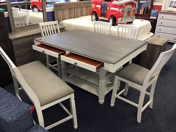 New White & Grey Table w/ 4 Chairs & Bench