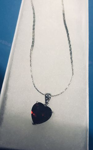 Red garnet heart on silver chain- brand new for Sale in Tacoma, WA