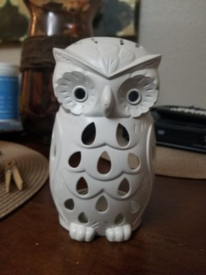 White barn Owl candle holder decoration for Sale in Dallas, TX