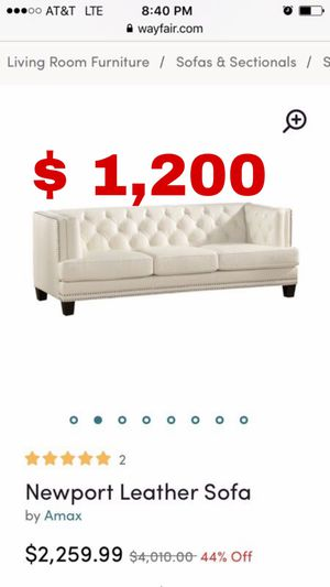 Beautiful new contemporary Newport 100% genuine white leather sofa/couch only 1,200$!!! Original price 4,000$!!! for Sale in San Leandro, CA