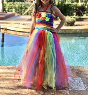 Rainbow Couture Tulle Flower Girl Dress size 4-6, Junior Bridesmaid Dress, Spring Wedding Dress, Summer Gown, Unicorn Tutu Fluffy Dress for Sale in Miramar, FL