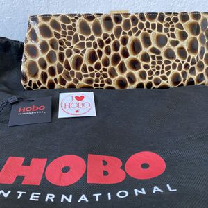 "Hobo International Tortoise-shell print clutch in chocolate brown / gold ""Venus"" model, leather for Sale in Danville, CA"