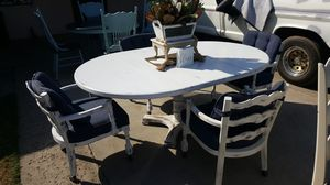 Antique table and chairs chalk painted distressed table and for Sale in Parlier, CA