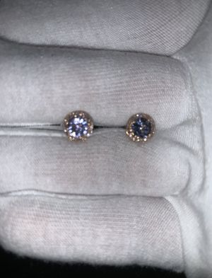 14k Rose Gold Tanzanite with Diamond Halo Earrings for Sale in Long Beach, CA