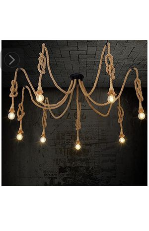 Pendant light 8 heads country retro hemp rope hanging chandelier. Robes are 56 inches long for Sale in La Verne, CA