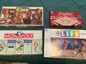 4 classic board games: Clue, Scrabble, Monopoly, Life for Sale in Cary, NC