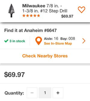 Milwaukee 7/8 in. - 1-3/8 in. Step Drill Bit for Sale in Stanton, CA