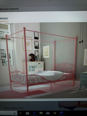 Brand New (in the box) DHP Canopy Twin Bed with Heart Design in Pink for Sale in Batavia, OH