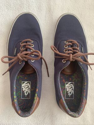 VANS Men's Navy Blue Canvas & Brown Leather Shoes Size 9.5 for Sale in Miami, FL