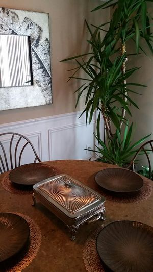 Vintage silver plated serving stand with Pyrex glass oven insert for Sale in Toms River, NJ