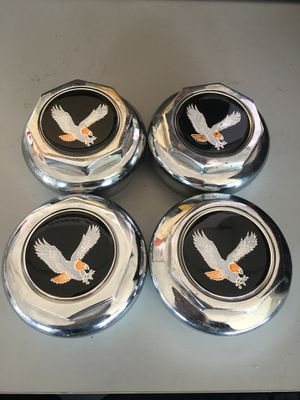 Chrome Octagon Knockoffs For Wire Wheels W/ Black Eagle Chips for Sale in Austin, TX