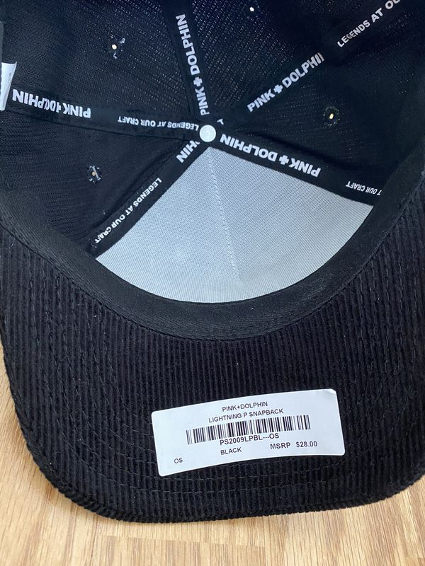 NEW PINK DOLPHIN CORDUROY LIGHTNING P HAT IN BLACK/PINK **SOLD OUT STYLE**