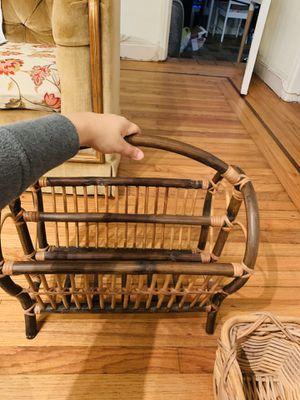 Rattan/bamboo,boho decor magazine rack for Sale in Miami, FL