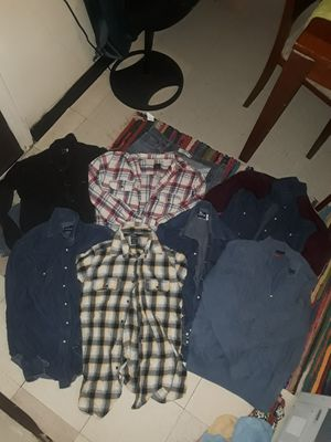 6 - L/XL Long sleeve button up shirts 1 Sweater for Sale in Fort Worth, TX