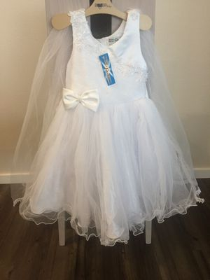 Flower Girl Dress - WHITE with Silver Sequin Embroidery (Multiple Sizes) for Sale in Kent, WA