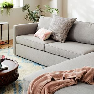 Cream White Harris Corner Sectional Sofa with Wooden Trim for Sale in Fremont, CA