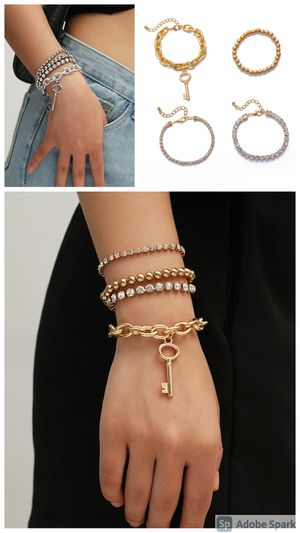 Multilayer Crystal Claw Chain Punk Style Cross Chain Bracelet, Gold and Silver Color for Sale in Irvine, CA
