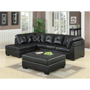 Black Breathable Leatherette Sectional W/ Ottoman for Sale in Fresno, CA