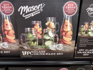 Mason 9 piece glass drink ware set for Sale in Tempe, AZ