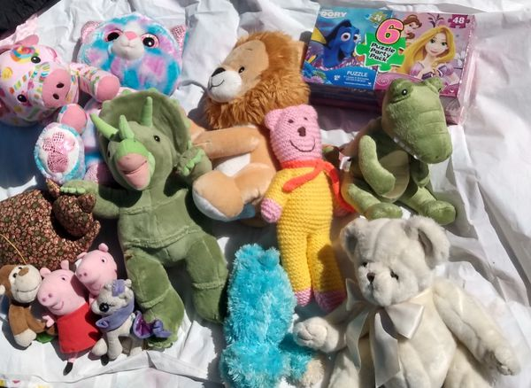 Kids bundle of like new soft stuffed animals and costumes and more toys games not pictured.