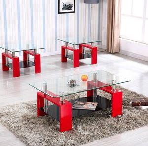Glass top 3pc red coffee table set for Sale in Beltsville, MD