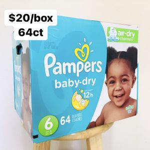 Size 6 (35+ lbs) Pampers Baby Dry (64 baby diapers) for Sale in Anaheim, CA