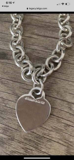 "Authentic Tiffany & Co .925 16"" necklace w/heart charm for Sale in Columbia, SC"