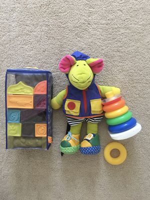 B. Toys Elemenosqueeze A to Z Architectural Soft Blocks, Learn to Dress Mouse, and Rock-a-Stack Toy for Sale in Midlothian, VA
