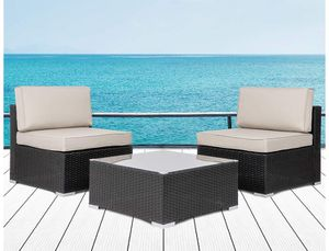 Brand new ~ 3 Pieces Patio Set Outdoor Wicker Patio Furniture Sets Modern Rocking Bistro Set Rattan Chair Conversation Sets with Coffee Table (Brown for Sale in Hacienda Heights, CA