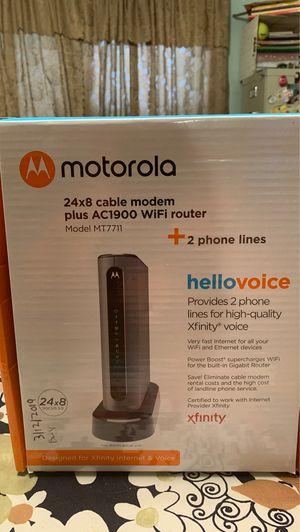 Motorola 24×8 modem plus a C1900 Wi-Fi router model MT7711+2 phone lines for Sale in Michigan City, IN