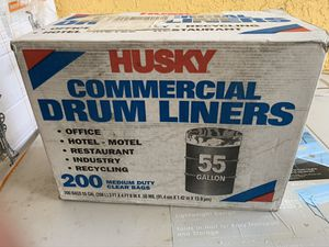 2x boxes brand new 55 gallon 200 count each box commercial drum liners clear bags both boxes 30 cash for Sale in Plant City, FL