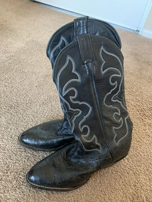 Larry Mahan full quill MENS cowboy ostrich boots sz 7 XE wide in excellent condition for Sale in Norco, CA