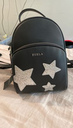 FURLA black leather silver star mini backpack bag for Sale in Raleigh,  NC