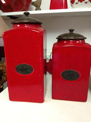 Beautiful Red Earthenware Kitchen Containers for Sale in Salt Lake City, UT