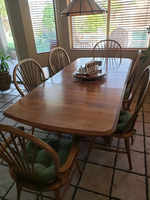 Dining table with two leaves and 6 chairs, solid wood for Sale in Scottsdale, AZ