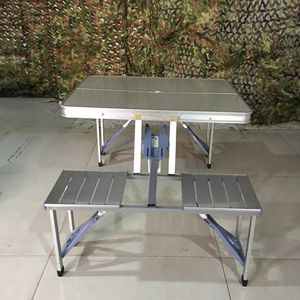 Outdoor Tourism Aluminium Alloy Folding Table Conjoined Desk Chair Portable Camping Picnic Barbecue Advertising Exhibition Desk for Sale in Cabin John, MD