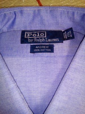 Polo Ralph Lauren Blue Dress Shirt sz 17 1/2 32 33 L Long Sleeve Andrew for Sale in Lorton, VA